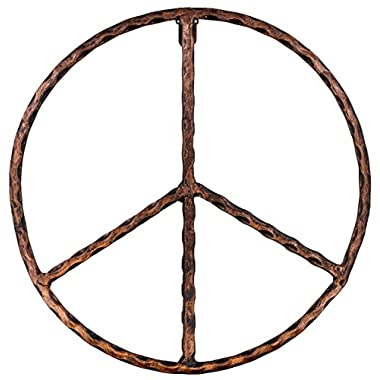Old River Outdoors Metal Peace Sign Wall Decor Art - 12  Rustic Hippie Plaque