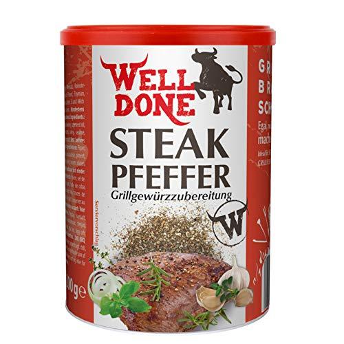 WELL DONE Steakpfeffer 5er Pack, 5 x 200 Gramm, Gewürzmischung zum Verfeinern von Grillfleisch im Streuer