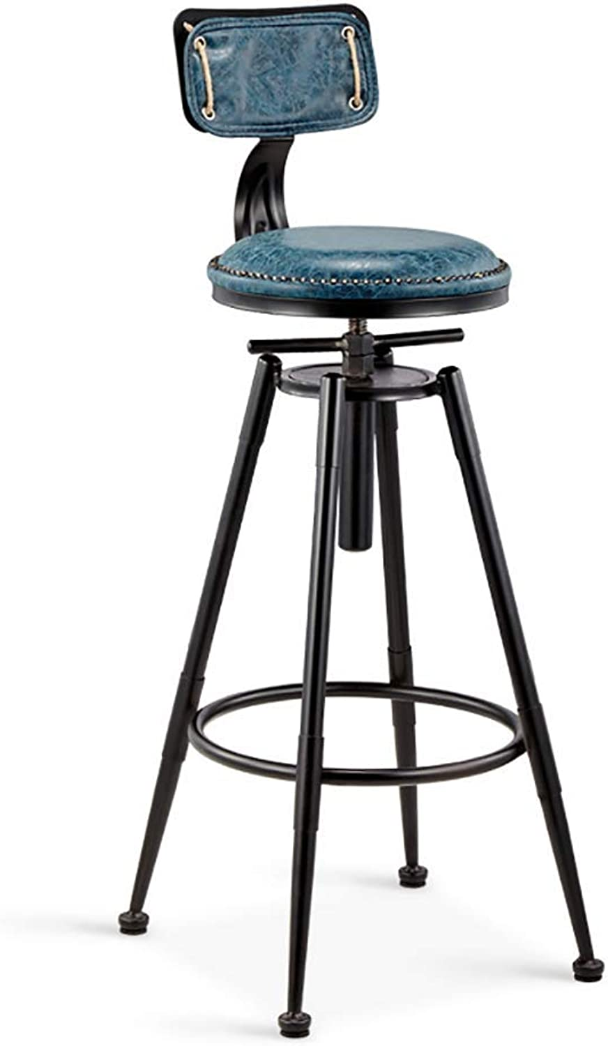 Barstools Bar Stool Retro Nostalgic Lift bar Chair Kitchen, Living Room, Cafe, mall Wrought Iron high Stool (color   B)