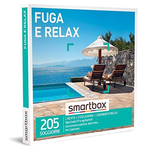 Smartbox - Fuga e Relax Cofanetto Regalo Coppia, 1 Notte con Colazione e 1 Momento Relax per 2 Persone, Idee Regalo Originale