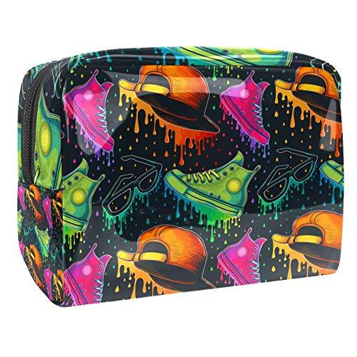 Trousse de maquillage multifonction de voyage de toilette sac de rangement organiseur pour femmes lunettes cool chaussures chapeau graffiti art
