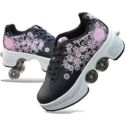 HealHeatersⓇ Jungen Inline Skates Kinderschuhe Mit Rollen 2-In-1-Mehrzweckschuhe, Verstellbare Quad-Rollschuh-Stiefel, Schwarz,38