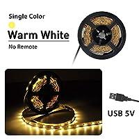 プレミアム ベッドルーム用LEDストリップライト、LEDストリップライトリモートミニ3Key 24KeyフレキシブルLEDストリップライト付き プロフェッショナル&アップグレード済み (Color : Warm White, Size : 1m)