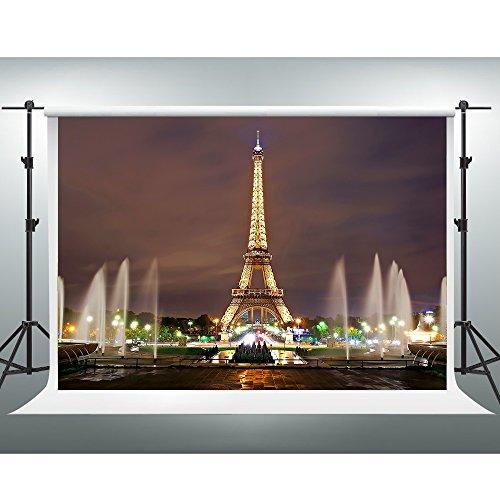 GESEN 10x7Ft Eiffel Tower Backdrop Paris Landmark Fountain Night Scene Romantic Background Video Studio Photo GE004