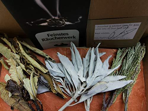 Native Spirit Smudge Kit-Triple-Herbs: Cluster-Bouquets salvia apiana aprox. 9 gr, 3 x cedro, Yerba Santa 2 x - Combined 20-25 gr