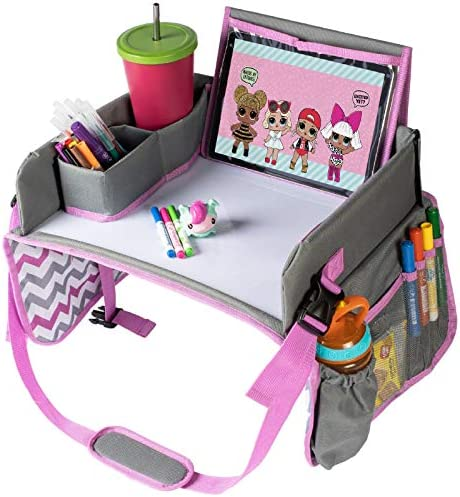 Kids Travel Car Seat Tray Travel Lap Desk Accessory with Dry Erase Board for Your Child s Rides product image