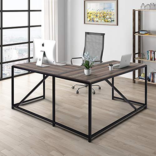 Merax L-Shaped Office Desk Workstation Computer Desk Corner Desk Home Office Wood Laptop Table Study Desk (Rustic Beige)