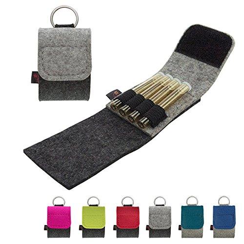 ebos Premium Schlüsselanhänger-Taschenapotheke | Reiseapotheke aus echtem Wollfilz | 4 Schlaufen für Globuli-Röhrchen | Globuli-Tasche, Etui, Mäppchen, Täschchen für homöopathische Hausapotheke | grau