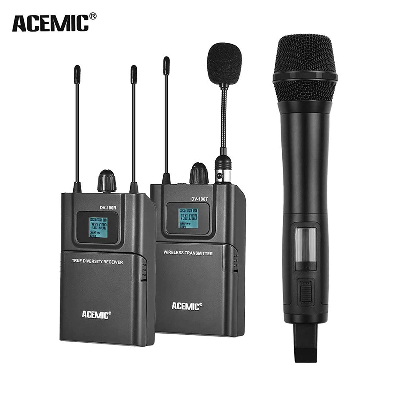 TPOTOO ACEMIC DV100SET Dual Channel UHF Wireless Microphone System LCD Display 80M Effective Range with 1 Transmitter & 1 Receiver & 1 Handheld Microphone for Canon Nikon Sony DSLR Camera Camcorder
