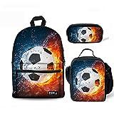 FOR U DESIGNS Teens Backpack Set 3 Piece Soccer Canvas Boys...