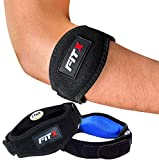FiTX Elbow Brace Strap 2 Pack Tennis Golfer's Elbow Compression Pad Pain Relief Tendonitis Arm Band For Men Women E-Book