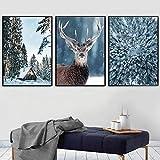 XIAOMA Lienzo pintado con impresión de nieve, pino, bosque, ciervo, arte mural e impresión, paisaje invernal, cuadro para dormitorio, decoración del hogar, sin marco (3 x 20 x 30 cm)