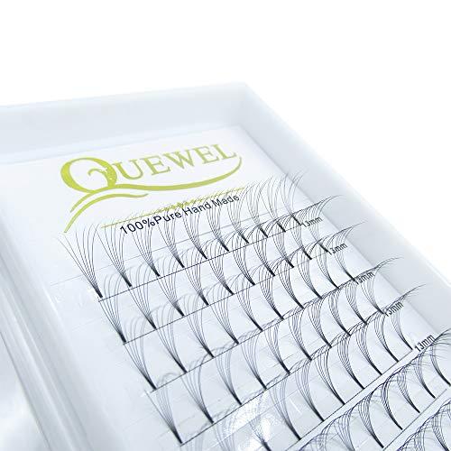 Russian Volume Premade Fans Eyelashes Extension 5D 6D Thickness 0.07/0.10 Curl C/D Length 8-15mm by Quewel(6D-0.07-D, 13mm)