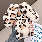 for iPhone 7 Plus iPhone 8 Plus Soft Rabbit Leopard Print Case, Luxury Cute Bunny Ears Soft TPU Case with Bling Diamond Silicone Case Fluffy Winter Protective Back Bumper Chic Plush Cover-Light Brown