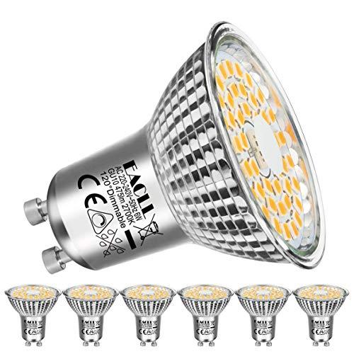 EACLL Bombilla LED GU10, 6 W, 2700 K, luz blanca cálida, regulable, 475 lúmenes, intensidad continua PAR16, foco sin parpadeos, 230 V CA, 120°, luz blanca cálida, 6 unidades