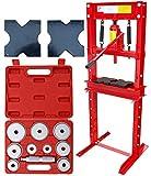 CARMAX Werkstattpresse 12T Hydraulikpresse + Druckstücksatz 10-TLG. – Rahmenpresse hydraulisch Dornpresse 12000kg