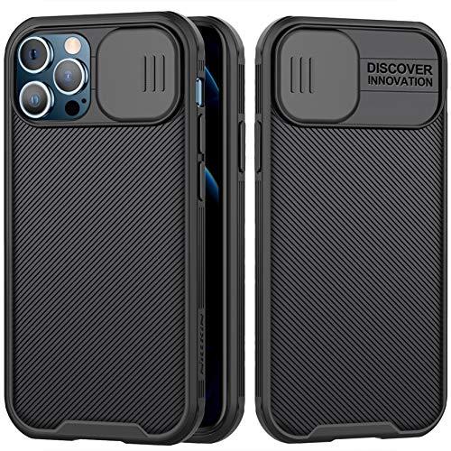 AROYI Funda Compatible con iPhone 12/12 Pro,Tapa Deslizante para la cámara-Negro