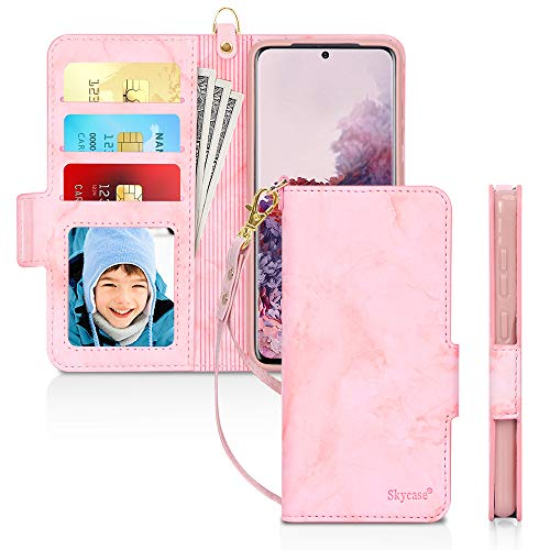 "Skycase Galaxy S20 Plus Case 5G 6.7"",Samsung Galaxy S20 Plus Wallet Case,[RFID Blocking] Handmade Flip Folio Wallet Case with Card Slots and Detachable Hand Strap for Galaxy S20 Plus 2020,Mar Pink"