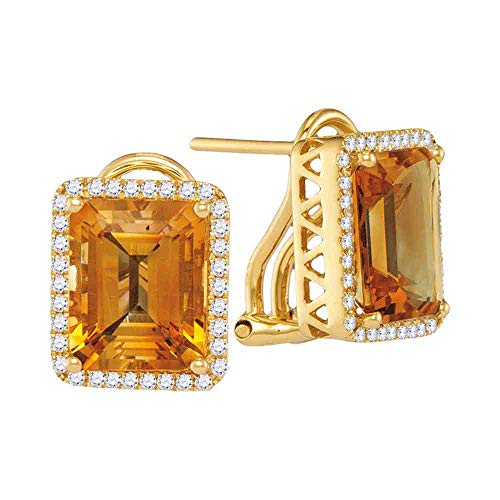 Cushion-Cut Citrine & Diamond Stud Earrings by Dazzlingrock Collection