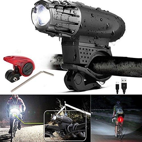 kashyk LED Fahrradlicht Set, USB Wiederaufladbare Frontscheinwerfer und Bremslicht Set,LED Fahrrad Helle Fahrradlampe Sicheres Fahren Taschenlampe Lampenset,4 Licht-Modi, für Fahrrad, Mountainbike