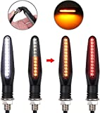 Justech 4pcs Super Bright Motorcycle Indicators 24LEDs,Flowing Turn Signal Brake Lights and Daytime Running Lights Universal 12V, White/Red/Amber from Justech