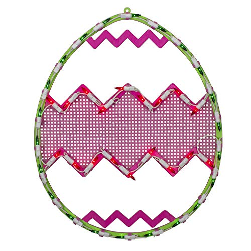 """Northlight 17"""" Lighted Green with Pink Chevron Stripe Easter Egg Window Silhouette"""