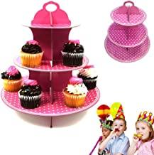 3 Tier Dessert Display Cupcake Tower with Pink Polka Dot Design - Treat Yourself Round Cupcake Stand Dish - Ideal for Halloween - Birthdays - Thanksgiving - Christmas - Parties - And So Much More!!!!