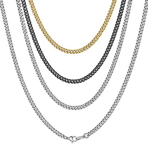 ChainsHouse Collar Corto 40cm Mujer Cadenas Cuello Cubanas 3mm Cadenas Acero Hombres