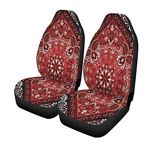 Beth-D set van 2 autostoelhoezen Abstract Paisley Bandana Silk halsdoek sjaal patroon universele auto voorstoelen protector 14-17IN