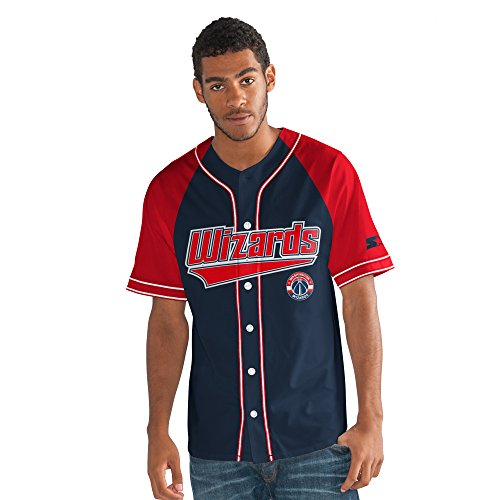 STARTER Adult Men NBA The Player Baseball Jersey Washington Wizards, X-Large, Navy
