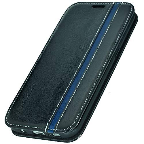 elephones® Handyhülle für Samsung Galaxy S7 Edge Hülle - Kompatibel mit Galaxy S7 Edge Schutzhülle Handy-Tasche Flip Case Cover Schwarz/Blau