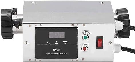 Lucsiky Calentador de Piscina eléctrico2Kw Impermeable Piscina SPA Calentador eléctrico Termostato Digital Controlador de Temperatura para bañera/Piscina de Agua fría Caliente