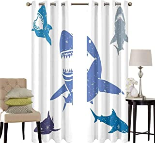 hengshu Shark Black Out Window Curtain 2 Panel Grunge Style Big and Small Sharks with Open Mouths Predator Jaws Dangerous Image Living Room Curtains for Bedroom W42 x L84 Inch Royal Blue
