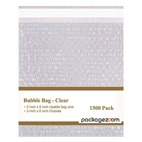 PackageZoom Bubble Pouch Bags | Clear 3 x 5 Inch Self Sealing Bubble Cushion Bags for Shipping, Packing, Storage, Moving | 1500 Pack