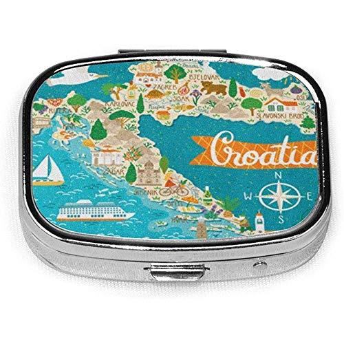 Pastillero cuadrado con 2 compartimentos portátil bolsillo monedero viaje vino mapa de Croacia marcas croatas gente comida plantas símbolo
