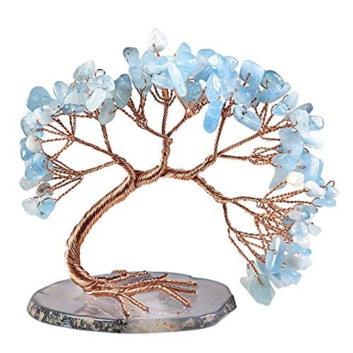 Nupuyai Árbol de cristal aguamarina Feng Shui, piedras preciosas, árbol de la vida, árbol de la suerte, regalo para boda, decoración