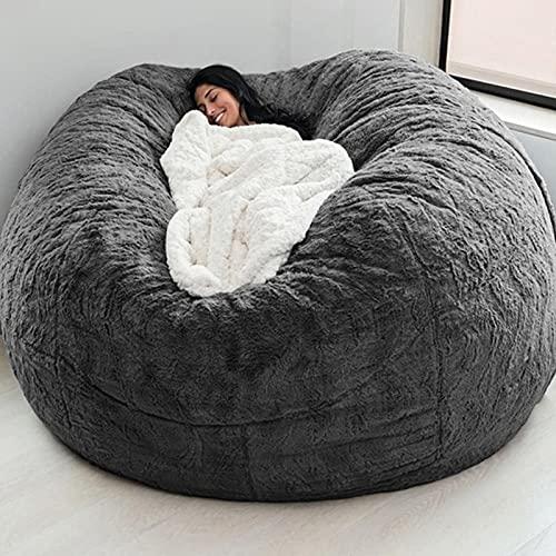 Ninhao 7 'große Beinbeutelstühle abdecken flaumig Pelz Faule Lounger bohnenbeutel lagerstuhl tragbar Wohnzimmer Sofa Bett Abdeckung für Erwachsene  ohne füller  (Color : Gray)