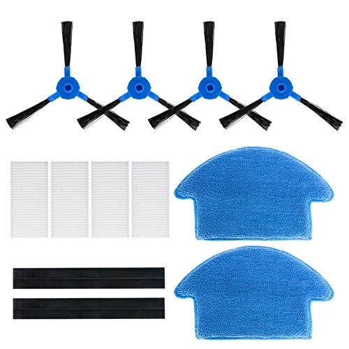 Universal Replacement Accessories Set for Robot Vacuum Cleaner Pureatic V2, High-Performance 4 Brushes, 4 Filters and 2 Mopping Cloths Attachments Dining Features Kitchen