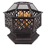 WMMCM Stahl Sechseck-Feuerstelle, Feuerschale for Garten und Terrasse, einen Garten Feuerstelle mit Netzabdeckung Firepit Bowl Heater