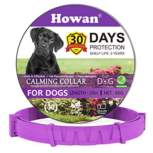 Calming Collars for Dogs, Adjustable Dog Collars- 30 Days Protection, Reduce Anxiety Dogs- Long-Lasting Calming Effect- 25 Inch (Purple)