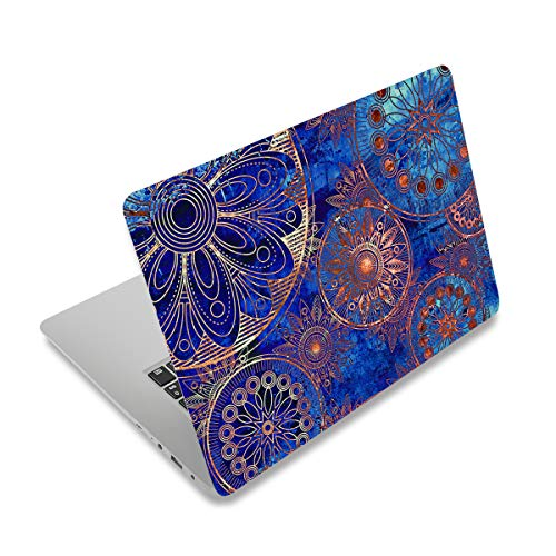 """Laptop Skin Sticker Decal,12"""" 13"""" 13.3"""" 14"""" 15"""" 15.4"""" 15.6 inch Laptop Vinyl Skin Sticker Cover Art Protector Notebook PC (Free 2 Wrist Pad Included), Decorative Waterproof Removable, Blue Mandala"""