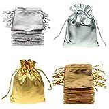FineInno 100 Stück Weihnachtstüten Schmuckbeutel Drawstring Bags Geschenktüten Gold und