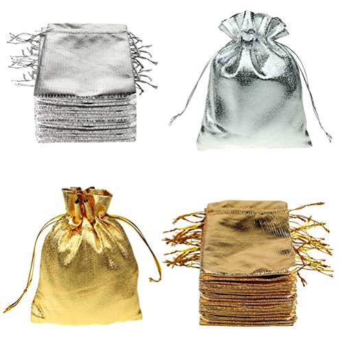 FineInno 100 Stück Weihnachtstüten Schmuckbeutel Drawstring Bags Geschenktüten Gold und Silber Säckchen Süßigkeiten,Schmuck,Party Wedding Favor,Halloween Taschen 7x9cm