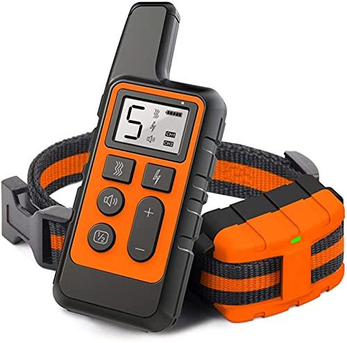 PQW Collar De Adiestramiento para Perros Collar A Prueba De Golpes 500 Metros De Larga Distancia IPX67 Impermeable Y Recargable 3 Modos Adecuados para Collares De Perros Grandes, Medianos Y Pequeños