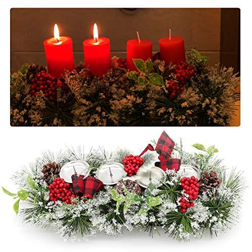 Unifree Adventskranz - Bereift Tanne Weihnachten Kerzenhalter Kerzenringe Kerzenständer Dekorativ Tannenzapfen Rote Beeren Bogen, Christmas Kerzenlicht Stehen für Advent Tischdeko Deko
