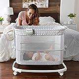 Ingenuity Dream & Grow Bedside Bassinet 2-Mode Crib 0-12 Months, Adjustable Height - Dalton (Grey)