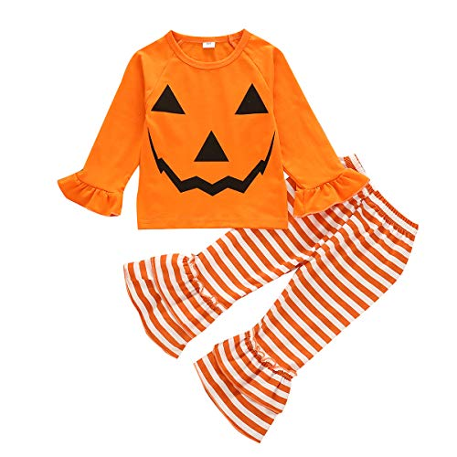 Toddler Kids Girl Halloween Set Unicorn T-Shirt Tops+Striped Leggings Pants 2PCS Halloween Pumpkin Clothes Outfits (18-24 Months, C-Pumpkin Smile)