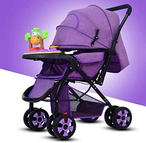 YONGYONGCHONG Carretilla Cochecito de bebé del Carro, Compacto Convertible Cochecito Cochecito Portable del Cochecito de niño del Carro de Viajes, IR de Compras Triciclo (Color : Purple)