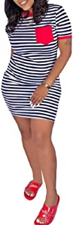 MU2M Women's Short Sleeve Summer Stripe Color Block Pocket Bodycon T-Shirt Dresses