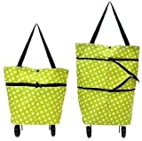 EXSESON Polyester Trolley Luggage Bags Traveling Vegetable Grocery Clothing Bag with Light Weight and Medium Size with Wheels for Girls Boys Women Ladies Men